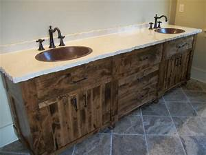 Solid Hardwood Rough Sawn Master Bath Canary Cabinets