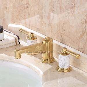 Luxury polished brass three hole gold bathroom sink faucet for Gold bathroom sink taps