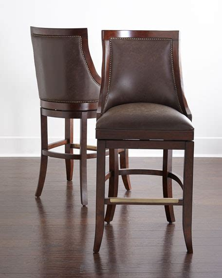 leather swivel counter stools logan leather swivel stools matching items neiman 6894