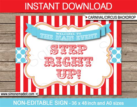 Circus Signs Template by Printable Circus Backdrop Sign Carnival Decorations