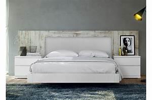 Lit Blanc Adulte : lit adulte design 160x200 blanc vintage baix 103 cbc meubles ~ Teatrodelosmanantiales.com Idées de Décoration