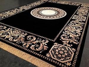 seiden teppich maander rug versac design 290x200 medusa With balkon teppich mit tapete gold barock