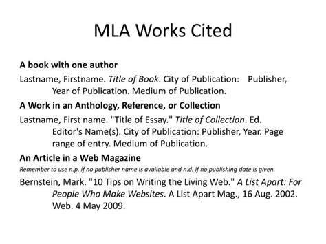 mla works cited template ppt mla works cited powerpoint presentation id 6798633