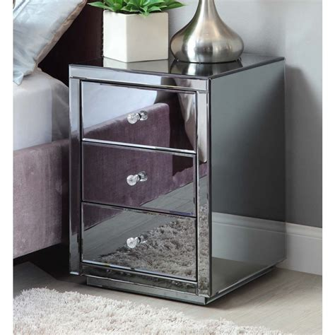 vegas smoke mirrored bedside tables tallboy package