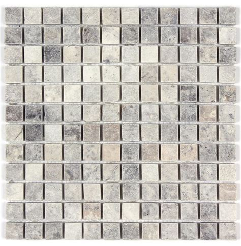 silver travertine tumbled 1x1 mosaic tile traditional