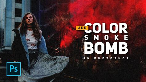 add color smoke bomb  photoshop urban street