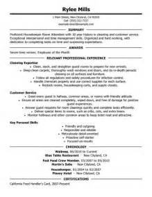 resume exles for housekeeping executive housekeeper description resume