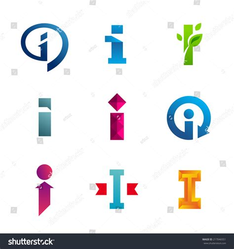 set of letter i logo icon design template elements collection of vector signs 217046551