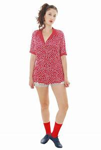 Red-Bordo Polka Print Vintage Blouse For Women 1980s ...