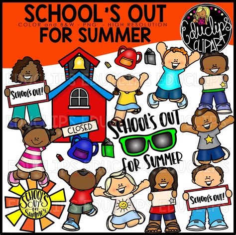 Schools Out Clipart School S Out For Summer Clip Bundle Color And B W