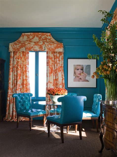 turquoise blue  orange drapes design ideas