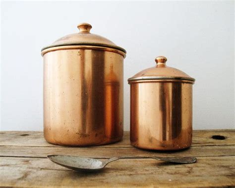 Vintage Kitchen Canisters by Vintage Kitchen Canisters Copper Rustic Kitchen Decor