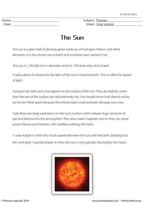 sun reading comprehension