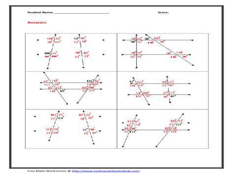transversal and parallel lines worksheet free worksheets