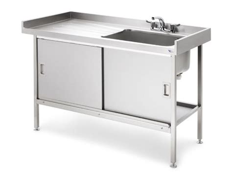 metal kitchen sink cabinet unit stainless steel sink with sliding doors garages 9149
