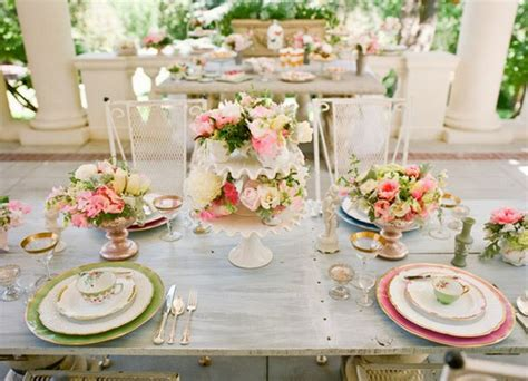 tea party table settings ideas pink green grey wedding palette