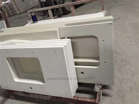 white artificial quartz bathroom countertop  square