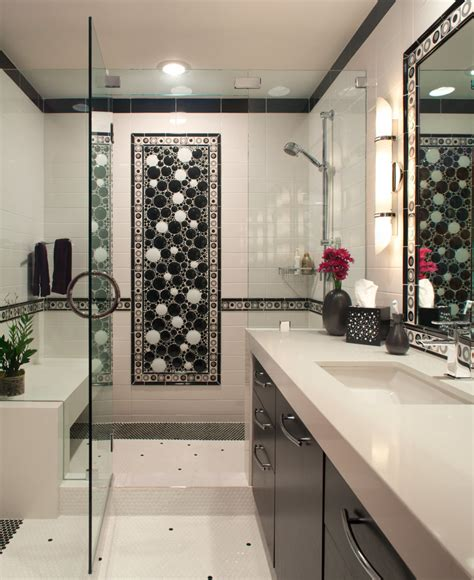 Black And White Bathroom Tile Designs by Tile Mosaic Designs Bathroom Contemporary With Black And
