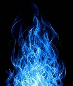 Blue gas fire flame on black background Stock Photo
