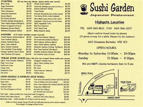 sushi garden menu sushi garden highgate garden ftempo