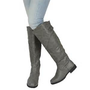 womens chunky heel the knee button accent boots gray sz 5 5 10 ebay