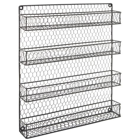 Cabinet Door Spice Rack Wire by 4 Tier Gray Country Rustic Chicken Wire Pantry