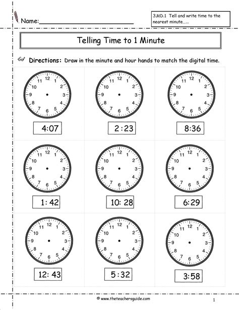 Telling Time Worksheets From The Teacher's Guide