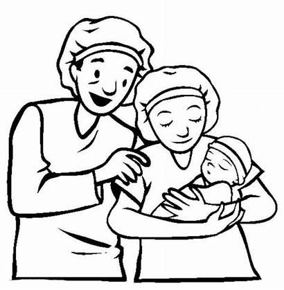 Parents Coloring Clipart Pages Newborn Parent Child