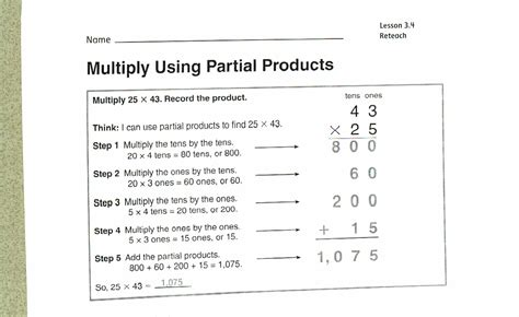 area models and partial products worksheets worksheets for
