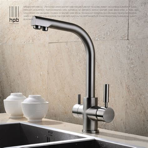 kitchen sink water tap hpb brass chrome brushed polished two functions kitchen 6030