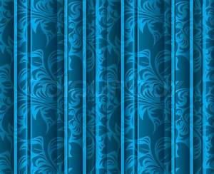 Seamless floral texture on the blue curtains stock photo for Blue curtains texture