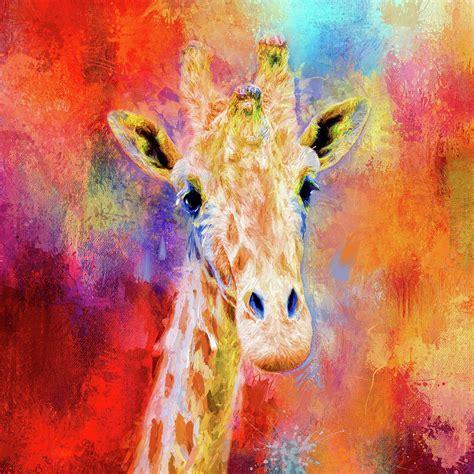 jazzy giraffe colorful animal art  jai johnson mixed