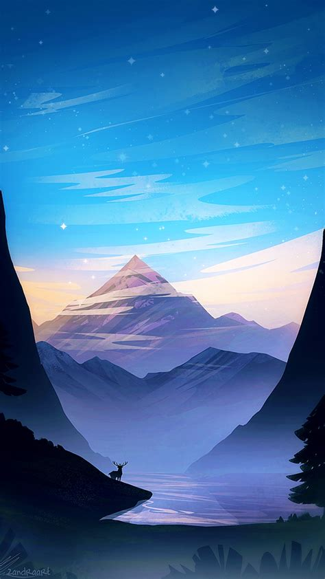 sunset mountain view forest scenery art iphone wallpaper