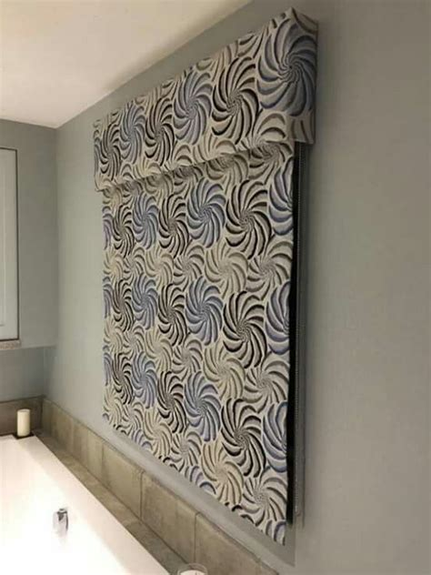blue  grey embroidered linen roman blind   pattern