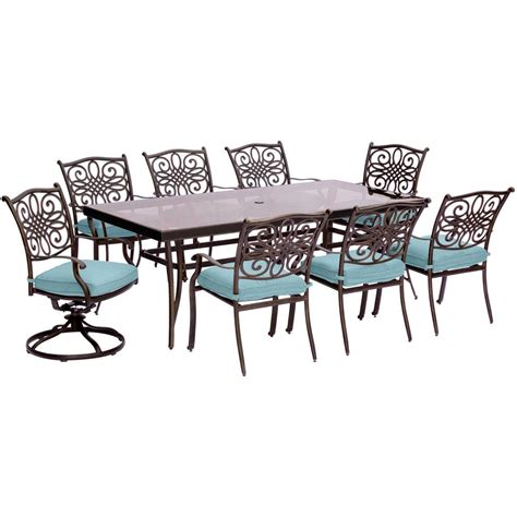 outdoor rectangular table and chairs hanover traditions 9 piece aluminum outdoor dining set