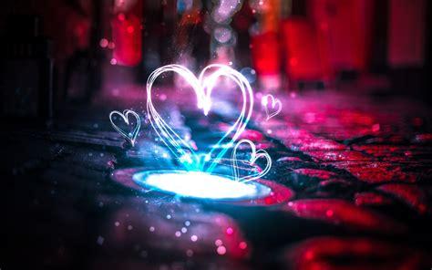 Neon Love Hearts 4k Wallpapers