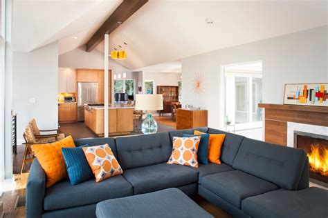 midcentury living room mid century modern lighting living room midcentury with atlanta blue cable railing