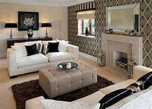 Nice Brown Wallpaper And Charming Fireplace For Classic ...