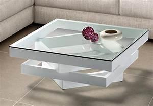 Table Basse Carre Bois Laqu Blanc Et Verre Kaz