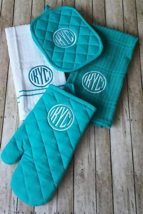 letter monogrammed kitchen towel set personalized  stitchncafe