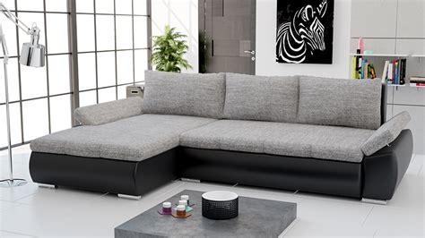 canapes originaux canapé d 39 angle convertible en pu noir et tissu gris