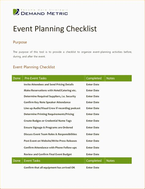 church event planning checklist template