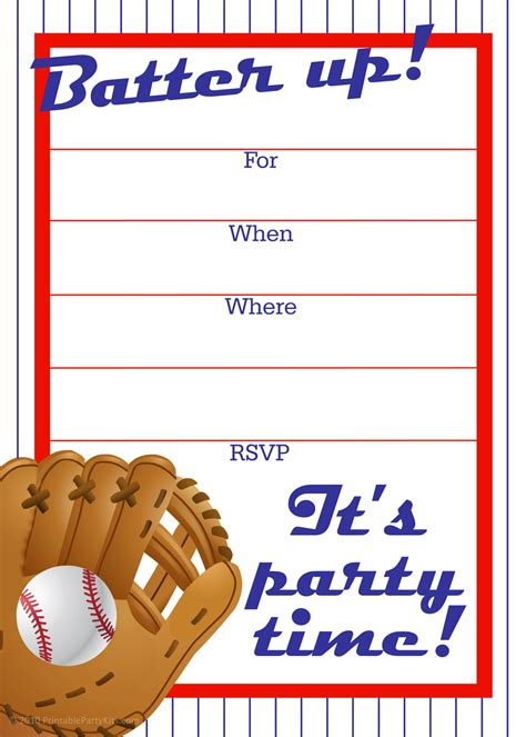 baseball invitation template free printable invitations free baseball birthday invitation artwork