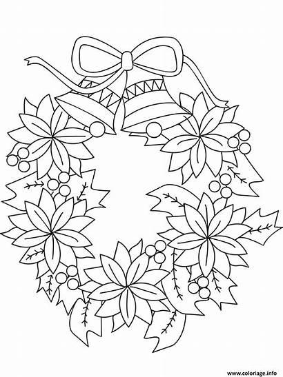 Noel Coloriage Couronne Fleurs Avec Dessin Cloches