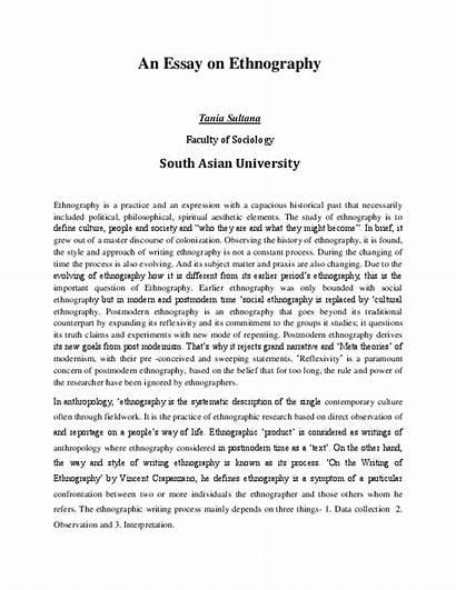 Ethnography Essay Mini Academia