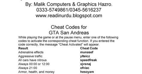 Gta Sanandreas Cheat Codes