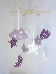 Mobile Bébé Nuage : sur commande mobile b b star purple nuages toiles et papillons mauve violet et blanc ~ Teatrodelosmanantiales.com Idées de Décoration