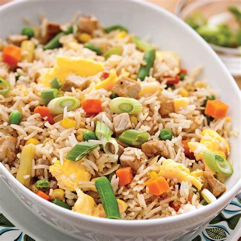 cuisiner le vrai riz frit chinois riz frit aux légumes et porc soupers de semaine