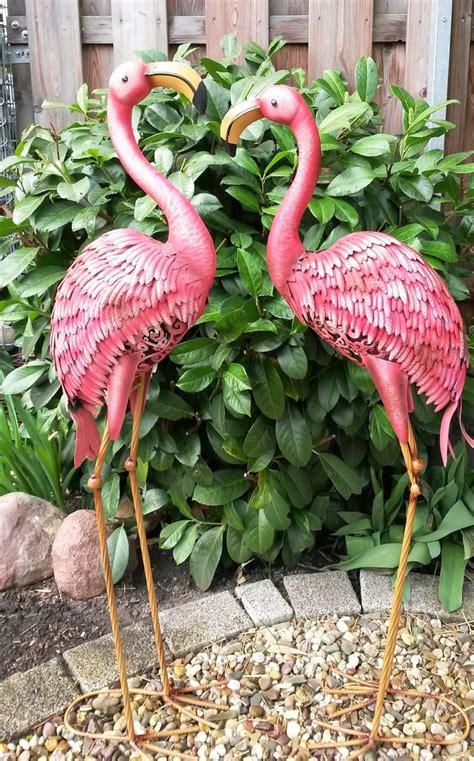 Flamingo 2er Set Gartenfigur Metall Figur Bunt Deko Vogel