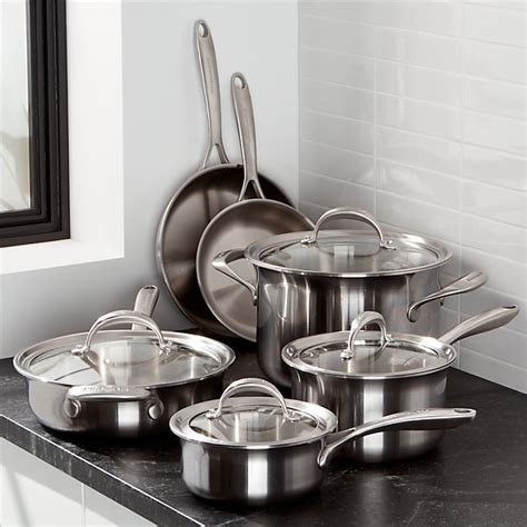 kitchenaid  piece triply stainless steel cookware set reviews crate  barrel